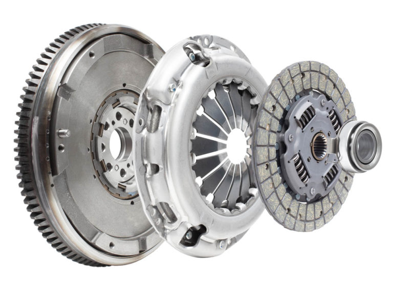 expanded cross section showing the internal components of a clutch system