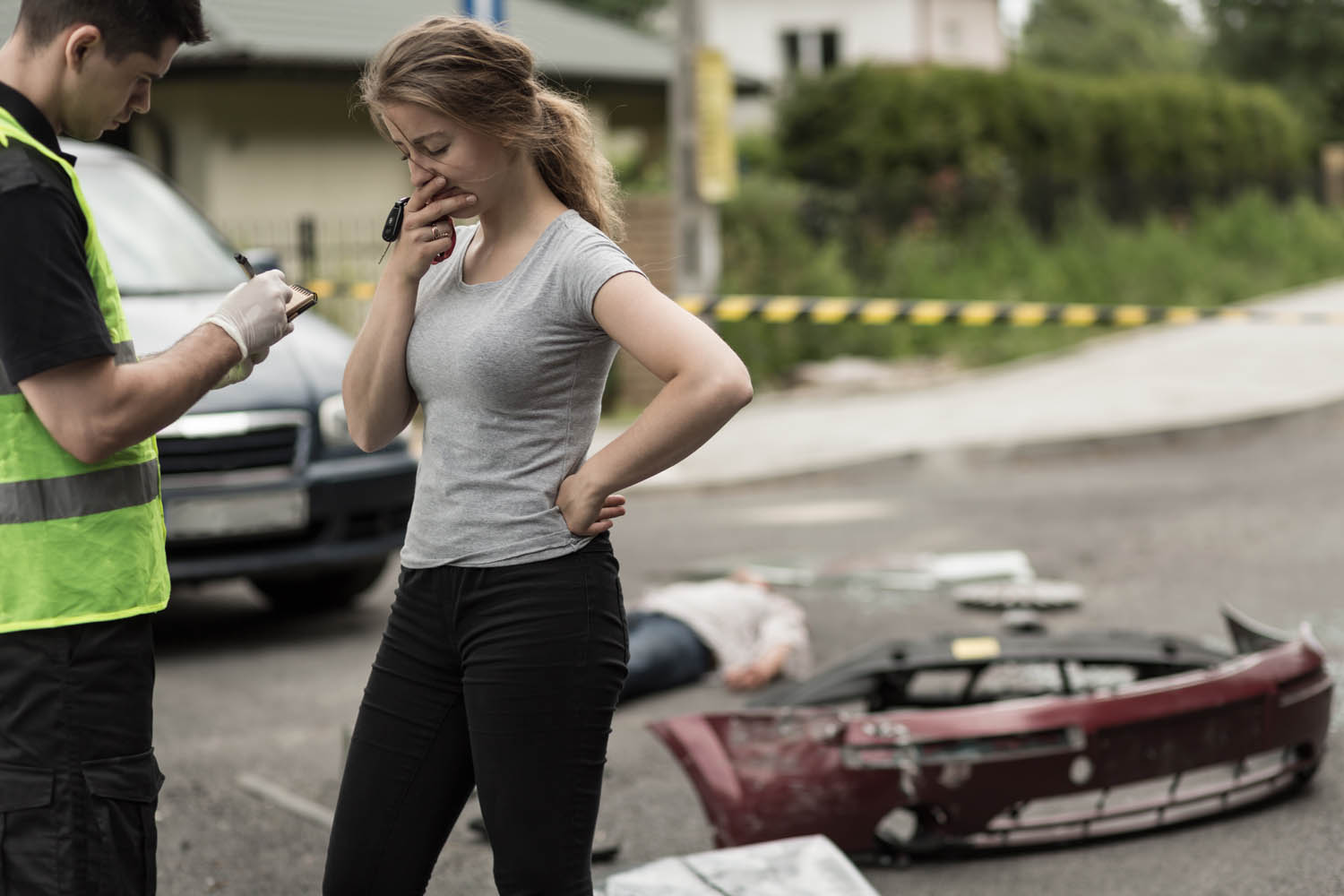 Woman After Car Accident