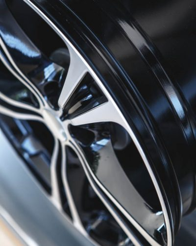 close up of alloy wheel